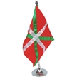 18 x 24.5 cm flag, satin, all-sewn green & white sripes,metal pole and base, 35 cm height
