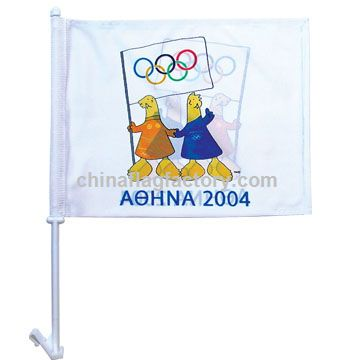 High-Quality 2-ply Car Window Flag With Clip Attachment