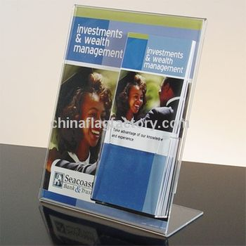 Slant Back Acrylic Promotional Sign Holder w Brochure Holder